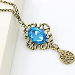 Wholesale Long Crystal Necklace Swarovski - Necklaces Pendants hollow blue stone droplets long chain necklace sweater Swarovski Crystal Necklaces