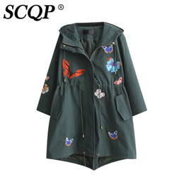 Wholesale Womens Ruffled Jacket - SCQP Cartoon Butterfly Embroidered Jacket Rope Yellow Hoodies Long Sleeve Womens Jackets And Coats Autumn Lady Casual Coat Women