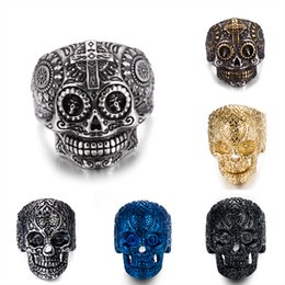 Wholesale Gold Plated Rings Bulk - Stainless steel Men's Biker Rings Punk Harley motorcycles Skull Skeleton Cross male Ring For man s Fashion Jewelry in Bulk