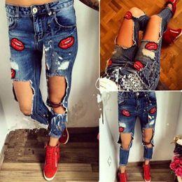 Wholesale Girls Lip Pants - 2017Hot Fashion Hole Lady Jeans New Style Red Lip High Waist Girl Denim Pants Leisure Women Pants Plus size 2 XL