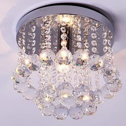 Wholesale wood ceiling lighting fixtures - 15 20 25 30 35cm Crystal Chandelier Light Led Ceiling Lamp Fixture Clear Crystal Lustre Lamp for Aisle Stair Hallway Corridor Porch Light