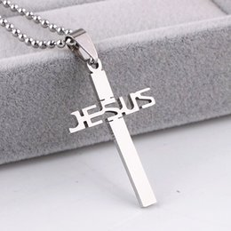 Wholesale Jesus Piece Cross - Brand New 10 Pieces Stainless Steel Silver Polished Jesus Christ Cross Pendant Necklaces with 10 chains wholesale lots