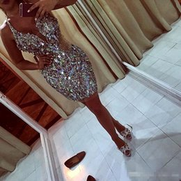Wholesale Ruched One Piece - 2017Shinning Major Beaded Short Prom Dresses With Deep V Neck Sequins Beads See Through Mermaid Dresses Evening Wear Sexy Back Pageant Gowns