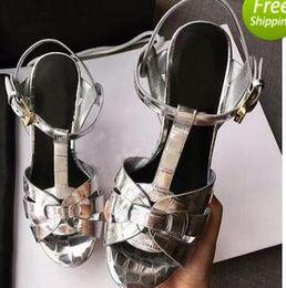 Wholesale Bronze Platform Shoes - New Tribute Patent Soft Leather Platform Sandals Women Shoes T-strap High Heels Sandals Lady Shoes Pumps Original Leather