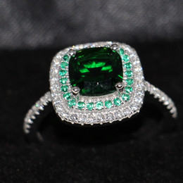 Wholesale Gold Emerald Cut Ring - Size 5-10 Luxury Jewelry 100% pure 925 Sterling Silver Cushion Cut Handmade Emerald 5A White CZ Wedding Women Band Pave Ring for Lover Gift