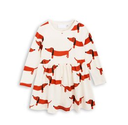 Wholesale Novelty Cloth - INS NEW Euro Fashion Girl autumn winter dress round collar long sleeve Sausage dog cartoon printed cotton girl dress elegant simple cloth