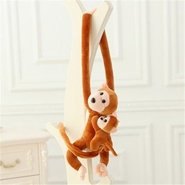 Wholesale Long Arm Toy - J068 New Arrival Lovely 70cm Son On Mother's Back Long Arm Tail Animal Monkey Stuffed Doll Plush Toys Curtain Buckle Wholesale