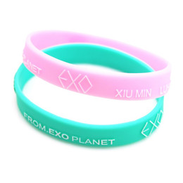 Wholesale Wholesale Silicone Jewelry - New Fashion Brand Silcone EXO Bracelets Bangles Men Candy Color Rubber Bands Bracelet For Women Wristband Jewelry Gift Pulseira