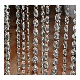 Wholesale Decorations Crystal Chain - Wholesale Crystal Wedding Curtains Beads Chain Transparent Crystal Octagonal Clear Acrylic Bead Garland Chain Wedding Chandelier Decoration