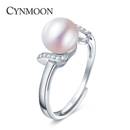 Wholesale Shell Mother Pearl Rings - 8-9mm Size 3 Colors Freshwater Pearl Ring For Women 2016 New Fashion High Quality 925 Silver Jewelry Promotion Adjustable Ring
