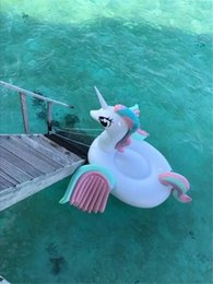 Wholesale Riding Horses Toys - Hottest Sale Adult's Inflatable Floats Swim Ride-On Pool Beach Toys Inflatable Water Sports Kids Swimming Floating Rainbow Horse DHL Fedex