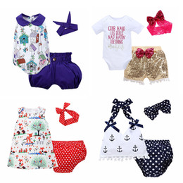 Wholesale Summer Clothing For Boys - Baby Three-piece Clothing Sets Baby Rompers Children Jumpsuits for Boys Girls Pants Shorts Hairbands Hats Tops 6M-3T