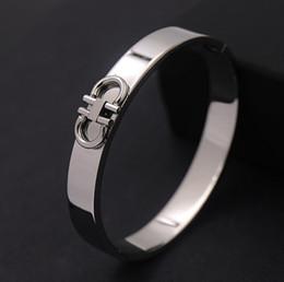 Wholesale D Ring Bracelet - Fashion titanium steel rhodium rose gold plated bracelets smooth horseshoe shaped double D mark bangle for woman charm bangle