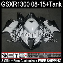 Wholesale Hayabusa Black White - gloss white 8gifts For SUZUKI Hayabusa GSXR1300 2008 2009 2010 2011 14MY160 GSXR-1300 GSX R1300 GSXR 1300 2012 2013 2014 2015 black Fairing