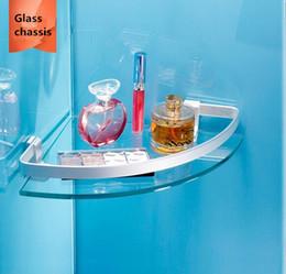 Wholesale Bathroom Corner Glass Shelf - Space Aluminum Bathroom Frame a layer of Film Glass wall Shelf New Design Accessories Basket Suitable for Hotel Home Building materials