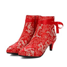 Wholesale Stilettos Shoes China - China Style Retro Embroidered Shoes High Heels Pointed Toe Ankle Boots Women Lace-Up Decorated Wedding Satin Shoes red
