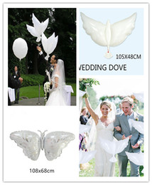 Wholesale Dove Balloons - 10pcs lot Eco Flying White Dove Butterfly Balloons Helium Pigeon Wedding Decoration Globos Peace Bird Air Ball Party Supplies Photo Props