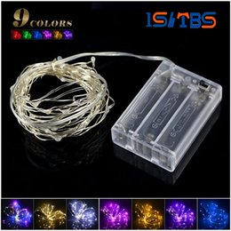 Wholesale Led Lights Strips For Homes - 2m 5m LED strip light 3pcs AA Battery Powered RGB Copper Wire Holiday String lighting For Fairy Christmas Trees Party home light