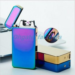 Wholesale Colorful Arc - Double fire cross twin arc Double cross fire ice new electric arc gold colorful charge usb lighters Including retail packaging