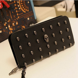 Wholesale Korean Style Black Dresses - New Arrival Womens Luxury Wallets High-end PU Leather Skull Adornment Card Holders Design Long Purses handbags free shipping