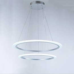 Wholesale Acrylic Ceiling Lamp Chandelier - AC110-240V New Modern chandelier lights for living room dining room 2 Circle Rings acrylic LED Lighting ceiling hanging Lamp fixtures