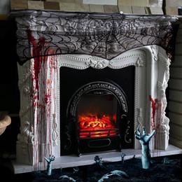 2019 decorazioni del camino Camino Mantello Coprispalle Copriletto Testiera dello schermo Decorazione grondaia Decorazione festiva per Halloween / Spooky Meals (Nero) decorazioni del camino economici