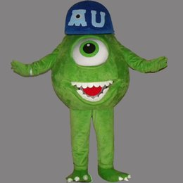 Wholesale Mike Wazowski Mascot Costume - Mike Wazowski Mascot Costume Green Monster Fancy Party Dress Halloween Costumes Adult Size High Quality free shipping