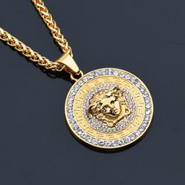 Wholesale Gold Medusa Head - Medusa Pendant Necklaces For Men Top Qualtiy Head Charm Hiphop Jewelries Brand Design Gold Hip Hop Accessories Wholesale
