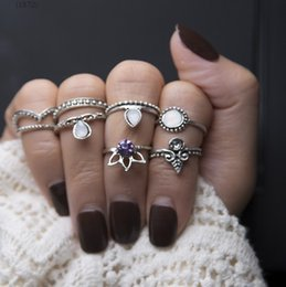 Wholesale Antique Engraved Ring - Vintage Stacking Rings Antique Silver Gold Engraved Manmade Gemstone Decorated Geometric V Shape Joint Knuckle Nail Midi Ring Set