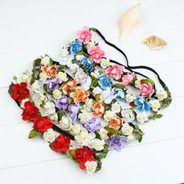Wholesale Elastic Band Crown - Hair Accessories Women Bride Flower Headband Bohemian Style Floral Crown Hairband Ladies Elastic Beach Hair Band Leaf Y#140