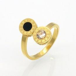 Wholesale roman engagement rings - Fashion Women Brand Jewelry Gold Stainless Steel Rings Roman Numerals Zircon Titanium Steel Ring