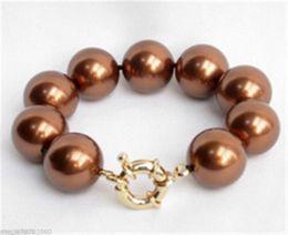 Wholesale South Sea Shell Pearl Sets - Genuine 12mm Brown South Sea Shell Pearl Bracelet Women Fashion Jewelry 7.5''
