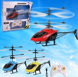 Wholesale Toy Helicopters Yellow Plastic - RC Toy Flying Mini RC Infraed Induction Helicopter Aircraof the Suspension Aircraft with Remote Control Induction Aircraft Kids Toys
