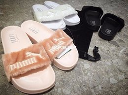Wholesale Slip Sandals Women - (With Dust Bag) Wholesale Rihanna Fenty Slippers,Fenty LEADCAT Fur Slide Slippers,Rihanna fenty Slide,Women Indoor Black Slides Sandals