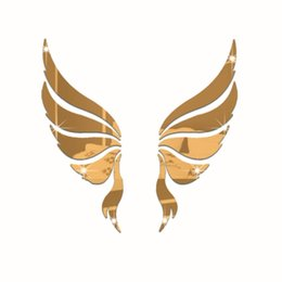 Wholesale Angels For Decorating - 35x35cm 3D wall stickers acrylic crystal angel wings background stickers Mirror stickers decorate marriage room TV sofa backdrop