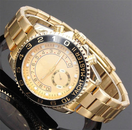 Wholesale Yellow Quartz Bracelet - 44mm big gold watch relogio masculino Luxury watches mens Brand fashion Automatic date day steel Bracelet Folding Clasp Master Male clock