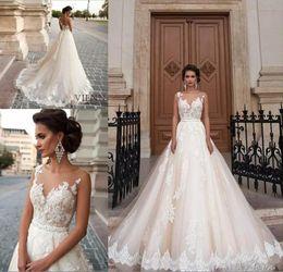 Wholesale Prince Weddings - New Princes Sexy See Through Back Wedding Dresses 2017 Arabic Milla Nova Lace Appliques Vestios De Novia Bridal Gowns with Pearls Sash Tulle