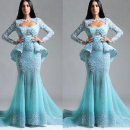 Lange blaue tüll applique kleider online-Saudi-Arabien Long Sleeves Prom Kleider Light Blue Lace Appliques Peplum Abendkleider Tüll Mermaid Formal Party Dress Vestidos