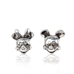 Wholesale Silver Charms For Bracelet - Stamped Dizny ALEPAN Mickey Minnie Alloy Charm Bead Antique 925 Silver Plated European Retro Style Jewelry For Pandora Bracelet