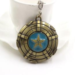 Wholesale Wholesale Keychains Cheap - The Avengers Captain America Shield keychain Pentastar Mask Zine Alloy Key Chain Ring Vintage Key Accessories Wholesale Cheap