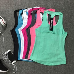 Wholesale Wholesale Dry Shirts - Women Gym Sports Vest Sleeveless Shirts Tank Tops Vest Fitness Running Clothes Tight Quick Dry Tank Tops Singlets Yoga Top 2501095