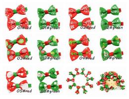 Wholesale red ribbon supplies wholesale - Rib printing ribbon hair clips Christmas ornaments children bowknot hairpin Red green color snowflake pattern Christmas supplies