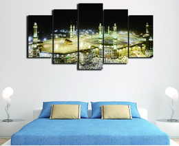 Wholesale Islamic Canvas Painting - 5 pieces of modern Islamic Muslim poster picture living room home decoration HD print