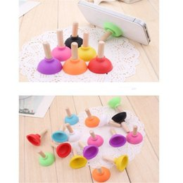Wholesale Mobile Phone Holder Stand Rubber - Cute Rubber Toilet plunger phone stand sucker universal silicone Mobile Phone Holder and Stands Plunger Sucker zpg252
