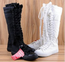 Wholesale Tall Canvas Shoes - Big size EUR34-43!Wholesale 2018 New Women Boots Canvas Lace Up Knee High Boots Women motorcycle boots Flat Casual Tall Punk Shoes woman