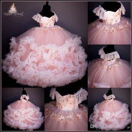 Реальные цветочные изображения онлайн-урожай румяна реальное изображение девушки цветка платья из бисера ручной малыша младенческой цветок Причастие платье зашнуровать бальные платья для детей