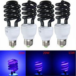 Wholesale Ultraviolet Lamps E27 - E27 15 20 36W Spiral Enegy Saving UV Ultraviolet Fluorescent Black Light CFL Light Bulb Violet Lamps 220V 300-400nm