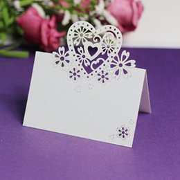 Wholesale Wedding Place Card Cut Out - Wholesale- 12Pcs set Love Heart Cut-out Wedding Birthday Christmas Card Table Decoration Place Name High Quality Cards