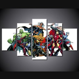 Wholesale Kids Room Comics Cartoon - 5 Pcs Set Framed HD Printed Marvel Comics Hero Movie For Kid Room Wall Art Canvas Print Poster Canvas Pictures Painting