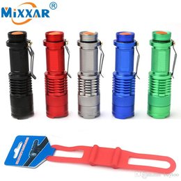 Wholesale Head Strap For Flashlight - Zoomable Mini LED Bike Light Torch Bicycle Light CREE Q5 1000LM With Silicone Strap Flashlight Holder for Cycling